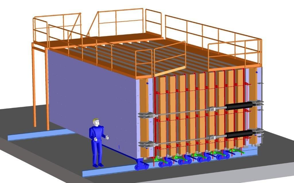 One-sided battery mold with 10 cells. The maximum height of the precast partition walls is 3metres and maximum length 8 metres.