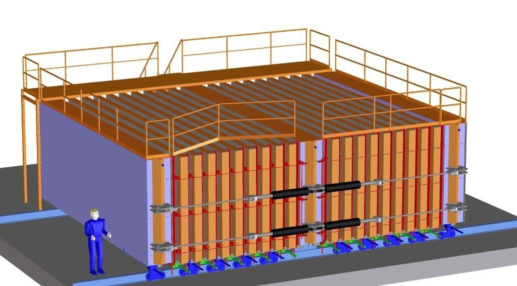 Two-sided battery mold with 20 shells. The maximum height of the precast partition walls is 3metres and maximum length 8 metres.